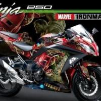 Setiker Decal Kawasaki Ninja 250 Fi Iron Man VS HULK Merah