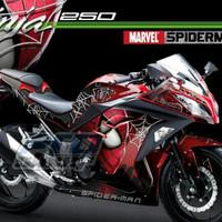 Setiker Decal Kawasaki Ninja 250 Fi Spiderman Merah Full Body
