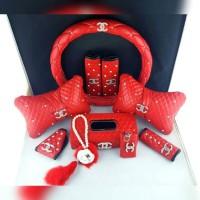 FULL SET Bantal Mobil Kulit CHANEL Swarovski Merah + Dompet