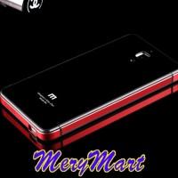 Xiaomi MI4 Alumunium Plus Tempered Glass Back Case / Casing