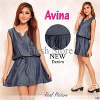 [ Dressa Avina SW] pakaian wanita dress warna biru dongker XW86