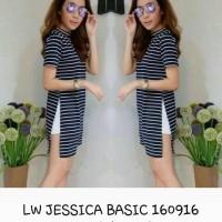baju atasan casual/baju belang belang/baju atasan hitam putih/jessica