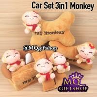 BANTAL MOBIL 3in1 MONKEY MONYET - AKSESORIS CARSET CAR SET COKLAT