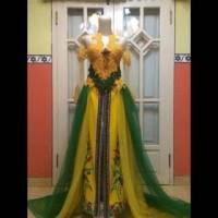 Kebaya Modern warna kuning hijau