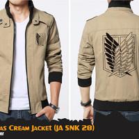 Jaket Anime Attack On Titan SNK Canvas Cream Jacket (JA SNK 28)