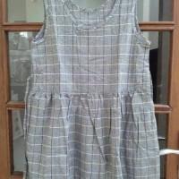 Baju Dress Cami Tank Top Plaid Kotak Katun Linen Jepang Berkualitas