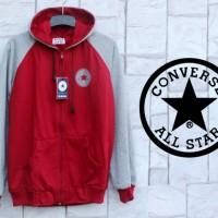 Jaket Hoodie Converse AllStar Merah Abu (Jaket-Switer-Fleece)