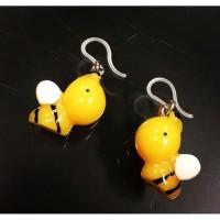Anting Lebah Kuning Resin kait Plastik/ Bee Charm Plastic Clasp