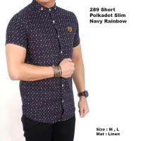baju kemeja pria lengan pendek motif polkadot navy