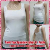 Tank Top Spandex Leher U - Putih ( bahan stretch, menyerap keringat )