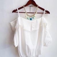 Mergi Off Shoulder Sabrina Atasan Wanita blouse lengan buntung putih