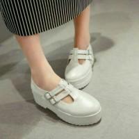 sepatu flatshoes wedges flatform docmart tali gesper putih sepatu m2m