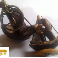 kapal handmade gantungan kunci oleh oleh khas danau batak toba sumut