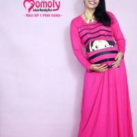 Baju Hamil Unik Momoty Maxi Dress Gamis Hamil Longdress Lucu Bp1 Pink
