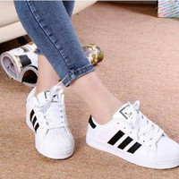 Sneakers korea adidas garis 569 Sepatu sport wanita putih