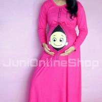 Baju Hamil Unik Momoty Maxi Dress Gamis Bp2 Pink - Juni Online Shop