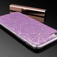 iPhone 6/6s Plus Diamond Grid Glitter TPU soft+Hard PC Back Case Ungu