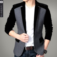 Jas Blazer Korea Pria - Combi Black - Slim Fit - Stylish