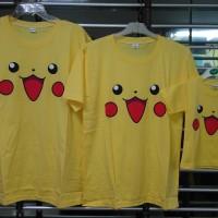 baju kaos keluarga couple family anak mama papa motif face pikachu
