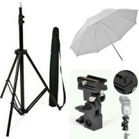 Paket Lightstand WITH BAG + payung putih + Flash holder