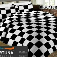 bed cover dan sprei motif kotak warna hitam putih ukuran 200x200