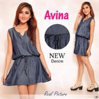 [ Dressa Avina SW] pakaian wanita dress warna biru dongker 2JMI
