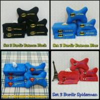 Bantal Mobil Set 3 Bordir Batman / Spiderman / Superman