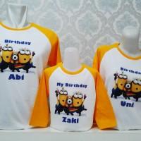 Baju Kaos Pasangan Keluarga Couple family ayah ibu anak Motif 3 minion
