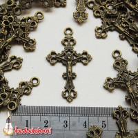 Bandul Salib Logam Tembaga Bakar - Bahan Kalung Rosario/ Gantung Kunci