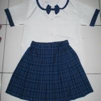 Baju seragam anak tk wanita kotak size S, M, L