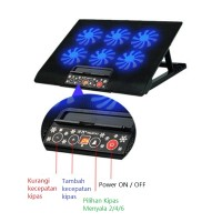 Laptop Cooling Pad 6 Fan dengan Tombol Kontrol (Laptop 12 - 17)
