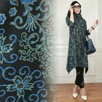 Hijab Set 3in1 Batik Velvet Arumi Navy Gamis Wanita / Baju Muslim / Hi