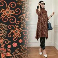 Hijab Set 3in1 Batik Velvet Arumi Orange Gamis Wanita / Baju Muslim /