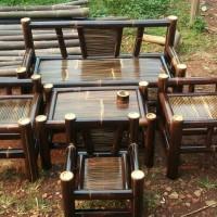 kursi bambu hitam full set ada bonus Istimewa