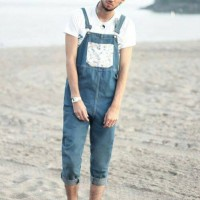 baju kodok cowok lucu celana jeans overall man jumper pria mens 7/8