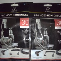 ATOMOS - Pro Video Micro HDMI to Full HDMI coiled cable 30cm