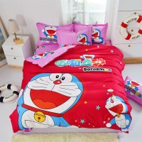 BED COVER DORAEMON PURPLE PINK READT STOK