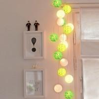 Cotton Ball Light Green Tone LED Baterai / LED Colokan / Tumblr Lamp