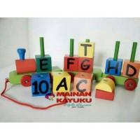 Mainan Kayu Kereta Huruf dan Angka