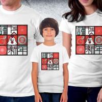 Baju Couple family - Kaos imlek - Happy Rooster Family greet