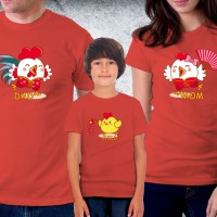 Baju Couple family - Kaos imlek - Happy Rooster Family Red