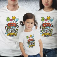 Baju Couple family - Kaos imlek - Happy Rooster Balon