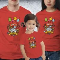 Baju Couple family - Kaos imlek - Happy Rooster Balon red