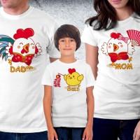 Baju Couple family - Kaos imlek - Happy Rooster Family