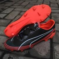 sepatu bola puma evospeed fresh top gread hitam orange