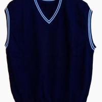 Look At Trade Knit Vest/Rompi Rajut Navy list Putih Orang dewasa