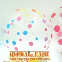 balon polkadot transparant / balon transparant polkadot / balon latex