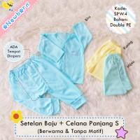 3 Stel Setelan Baju Bayi Newborn + Celana Panjang Diapers Polos SPW4