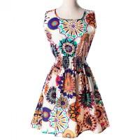 TERMURAH ! Dress Wanita Motif Bunga Bohemian Baju Rok