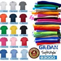 Kaos Gildan Softstyle Polos Tanpa Jahitan Samping Hitam Combed 30s